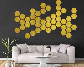 Gold Hexagon Wall Decal - Hexagon Wall Vinyl - Hexagon Wall Decor - Honeycomb Decals - Hexagon Wall Stickers - Peel and Stick - Dorm Decor