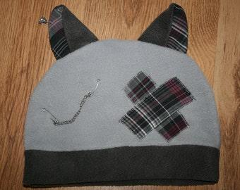 Cap with cat ears, light grey, dark grey