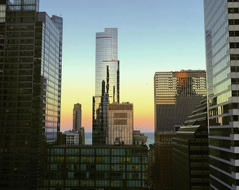 Chicago Buildings at Sunset Original Color Photograph Home Decor Gift