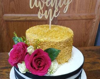 Gold Glitter Twenty First Cake Topper l 21st Birthday Cake Topper l Twenty One Cake Topper l 21st Cake Topper l Glitter Gold l Finally Legal