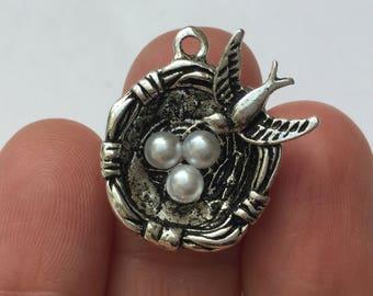 2 Birds Nest Charm Antique Silver - SC671