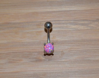 Petite Pink Simulated Opal Round Shape Prong Belly Button Ring Navel Body Piercing Jewelry