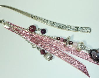 "Large bookmark Silver ""Ribbon heart"""