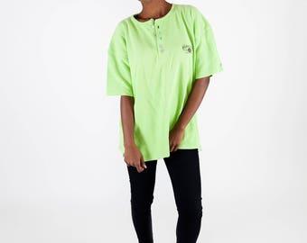 Neon green texture tee / Vintage Replay tee / Vintage button T-shirt / Green logo T-shirt / Men's rib tee / Women's button T-shirt / Size L