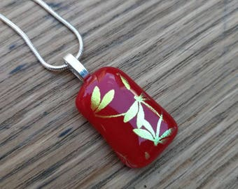 Red with gold green dragonfly dichroic fused glass pendant, silver plated chain