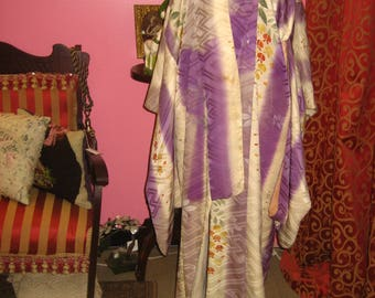 """Early 1900's , 46"""" chest,  full length Japanese traditional kimono."""