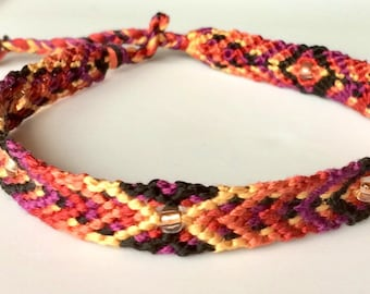 Handwoven Summer Bracelets with Copper-Core Czech Beads Tropical Fruit & Raspberry-Fusion