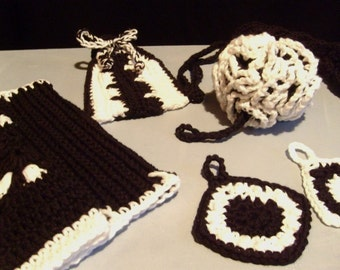 Black and White Crochet Spa Set - Includes 2 Washcloths, Bath Pouf, Back Scrubber & Soap Pouch LUXE COLLECTION