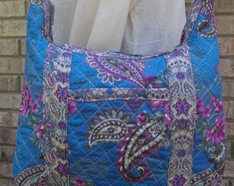 Quilted Blue Hobo Purse