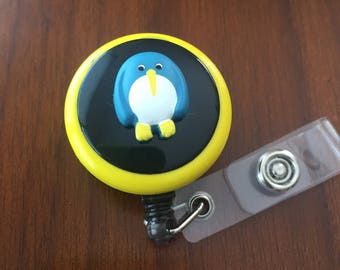 penguin badge reel, penguin badge holder, nurse badge holder, nurse badge reel, gift for nurse, retractable badge reel, id badge holder