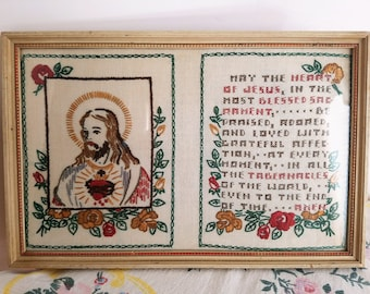 SALE!!  Vintage Hand Embroidered Sacred Heart of Jesus With Prayer, Blessed Sacrament, Double Panel, Framed