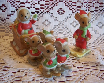 Enesco Santa Mouse with Mice Reindeer & Skier Figurines