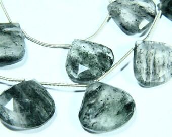 "7.50"" Full Strand Moss Quartz Gemstone Briolette, Faceted Heart Shape, Size - 17mm to 20mm, Gemstone Beads, Natural Stone"