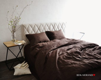 Brown Linen Duvet Cover/Super Soft Linen duvet covers/Raw, Natural, Organic, Singe, Twin, Double, Queen, King all size