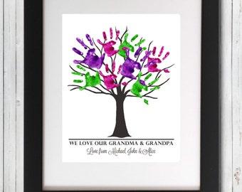 Grandparent Tree Grandchildren Names Handprints Fingerprints Wall Art Anniversary Christmas Gift - Printable Wall Art & Handprint art | Etsy