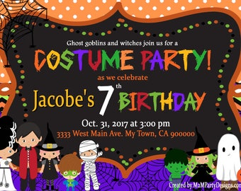 Halloween birthday invitation Personalized Printable Party Invites Costume Party Invitations Digital File