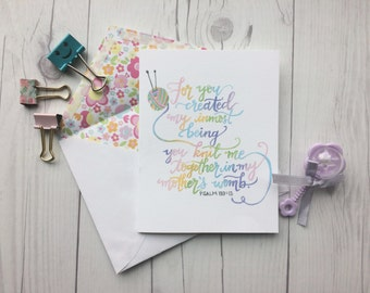 Psalm 139:13 | Knit together in mother's womb | Baby | Christian Greeting Card