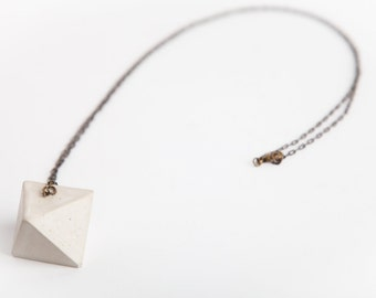 Concrete Jewelry, Concrete Geometric Necklace (Octahedron), Cement Jewelry, Modern, Geometric, Minimalist Jewlery, Women's Gift Under 30