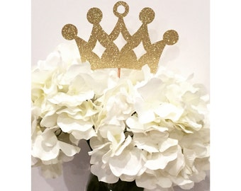 Gold Princess Crown Centerpiece - Set of 5