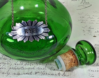 Vintage Green Glass Decanter LJ McGuinness Green Genie Bottle, Captain's Table Canadian Whiskey Collectible, Liquor Alcohol Rye tag Barware