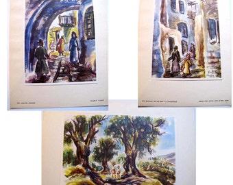 Set of Prints 1952, David Gilboa Prints, Jerusalem Israel City Scenes Religious Jewish Elders of Safad