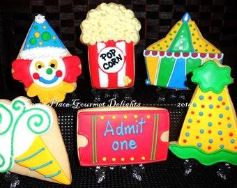 Circus Cookies - Carnival Cookies - 12 Cookies