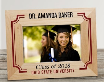 Personalized Red Border Picture Frame, grad gift, wooden frame, personalized, graduation, graduation frame, wood, class of -gfy9131131