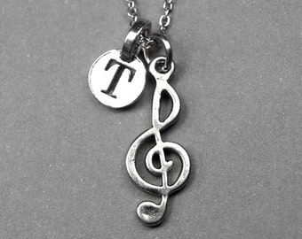 Treble Clef Music Note Necklace charm silver plated pewter, initial necklace, initial hand stamped, personalized, monogram
