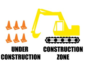 Construction Zone / Site!  DOC band Decal set, for Baby Helmet bling, cranial helmet decal, with digger, pylons, and text