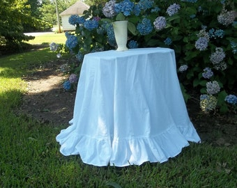 Ruffled Floor Length Tablecloth CUSTOM Ruffled Tablecloth Linen Tablecloth Handmade Wedding Decorations Table Decor French Country Cottage
