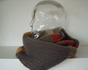 Gerstekorrelcolsjaal in autumn shades (circumference 140 cm, width 22cm), for men and women