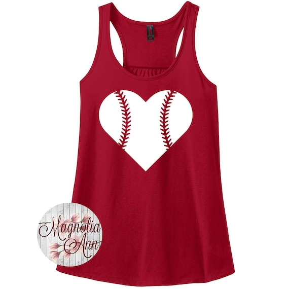 Love Baseball, Heart Baseball, Sports, Women's Racerback Tank Top in 9 Colors in Sizes Small-4X, Plus Size