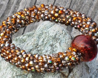 Copper Penny bead crochet bracelet..........FREE SHIPPING...................
