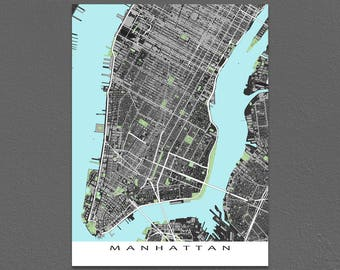 Manhattan Map Print, Lower Manhattan New York City Street Map Art, NYC Buildings