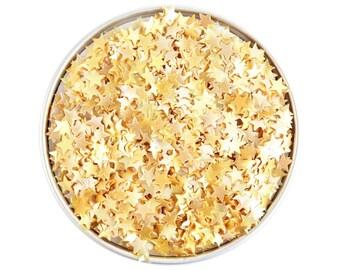 Light Gold Star Edible Glitter - metallic light gold star glitter sprinkles, edible gold glitter stars, light gold star sprinkles