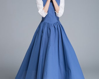 belle dress, prom dress, blue dress, ruffle dress, party dress, long dress, spring dress, pleated dress, custom dress, school dress 1659