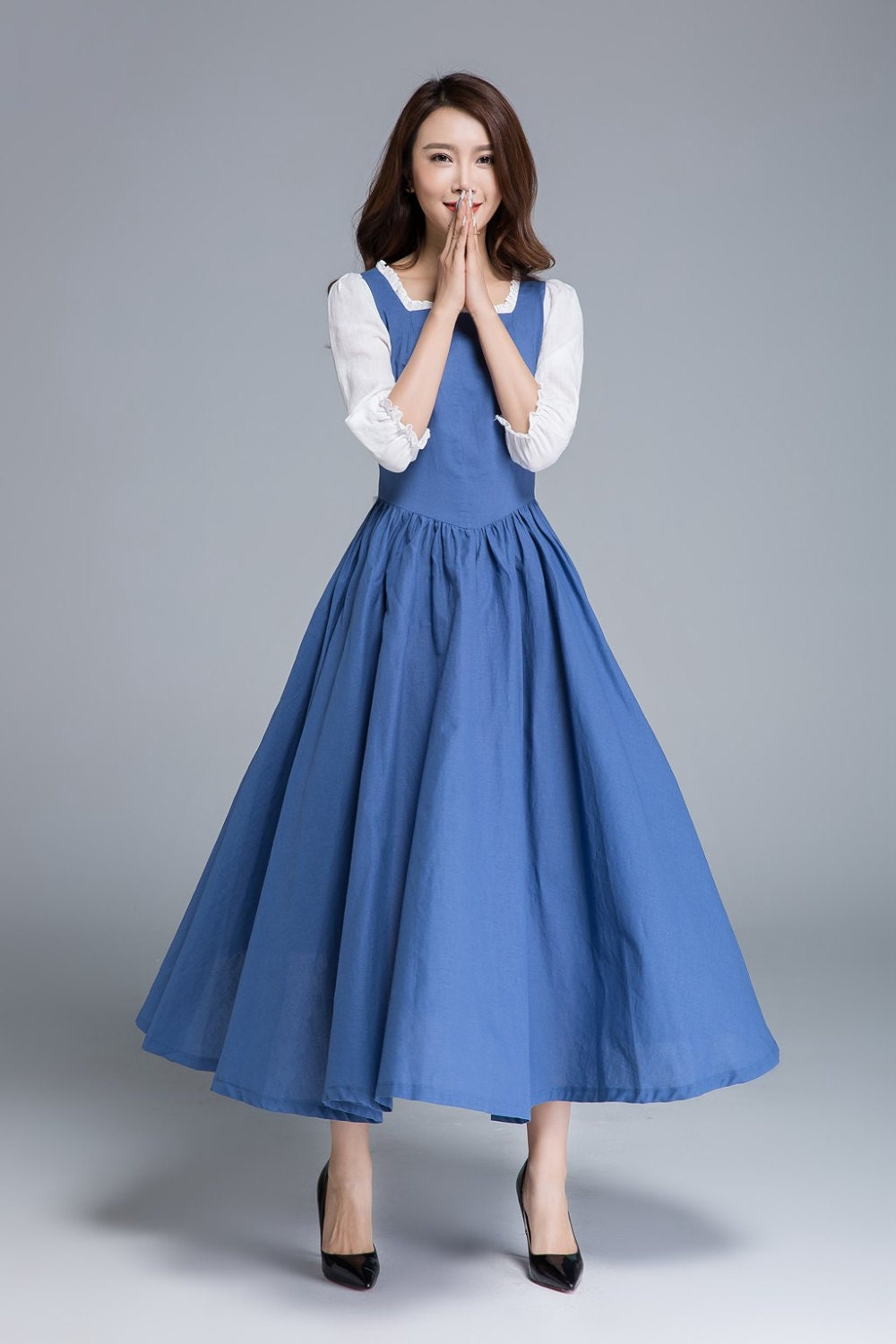 belle dress prom dress blue dress ruffle dress party