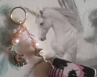 Altered Domino Unicorn Keyring or bag charm with Unicorn Charm