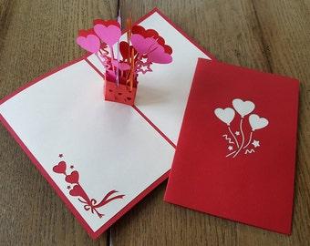 Heart Balloons pop-up card
