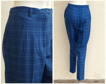 Vintage Pendleton Lightweight Wool Trousers Blue Pants High Waist Striped Checkered Straight Leg Preppy Career Wear to Work 29 x 29 Petite