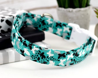 Dog Collar - Butterfly Print Fabric Dog Collar - Fashion Dog Collar - Teal, Gray, White, Black - White Plastic Hardware