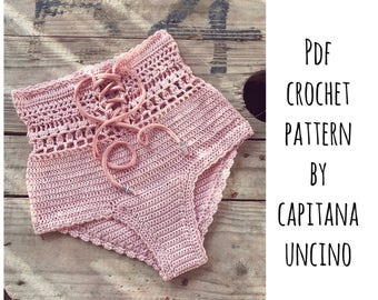 PDF-file for Crochet PATTERN, Angela Crochet Bikini Bottom Sizes XS-L, Highwaist bottom