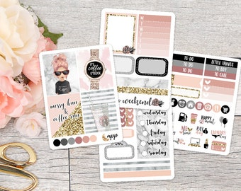 Coffee Girl Mini Sticker Kit || Pocket Personal ECLP Planner Stickers