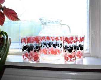 Mid Century Glass Pitcher and 5 Tumblers Pink and Black Vintage 1950s