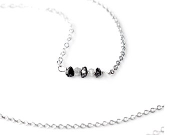 Raw Diamond Necklace, Black Diamond Sterling Silver Choker Necklace, Delicate Dainty Black and Silvery White Rough Diamond Crystal Necklace