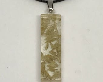 Wheat oats resin rectangle necklace