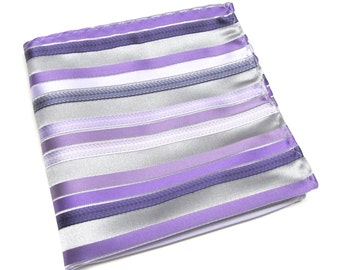 Pocket Square Silver Gray Purple Lavender Lilac Stripes Hanky