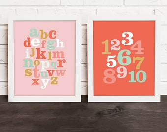 alphabet wall art print, ABC 123 nursery decor, coral nursery decor, playroom art, baby girl nursery art, pink and gold nursery decor