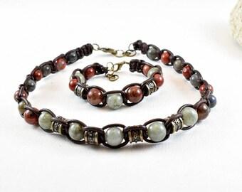 Necklace and bracelet for men labradorite leather red Jasper