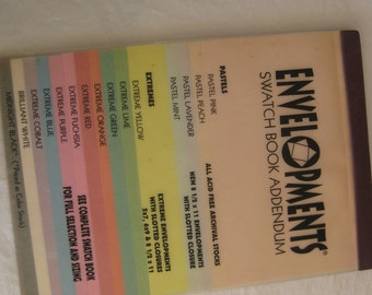 Card stock swatch book, envelopments, from the early 1990s'